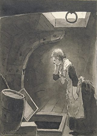 "An image of The young girl stooped down and peered... (illustration for Bret Harte's ""A ship of '49"")"