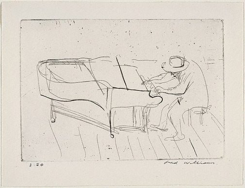 An image of Mad pianist by Fred Williams