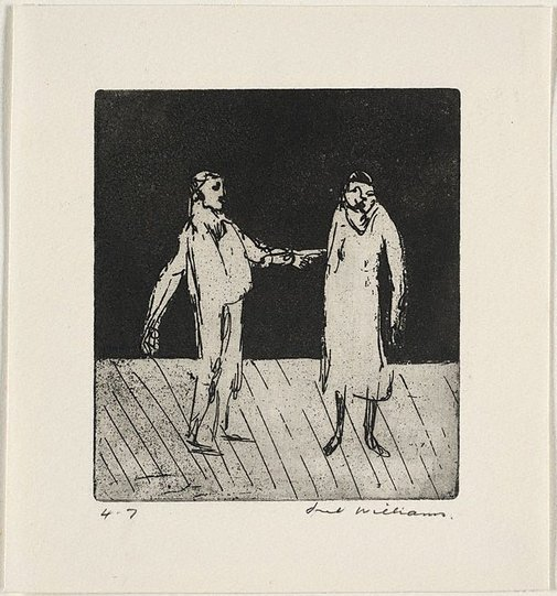 An image of Two figures on stage by Fred Williams