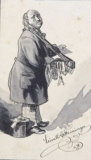 An image of (A street pedlar with a tray)