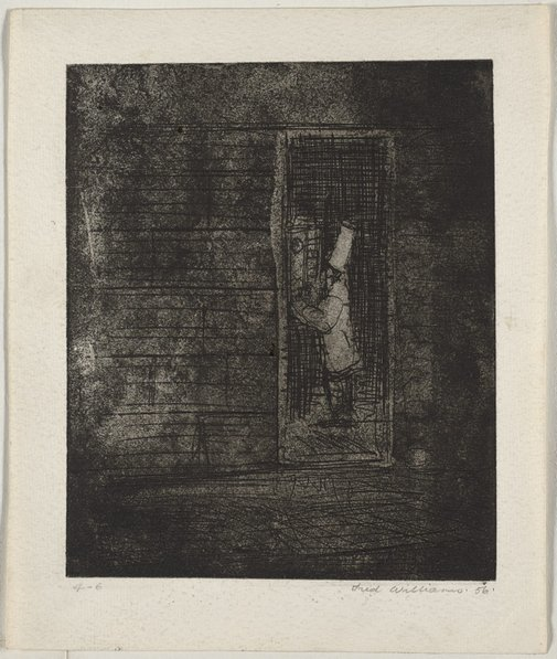An image of Cook and time clock by Fred Williams