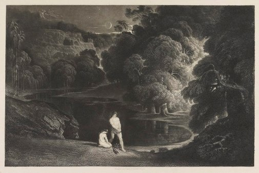An image of Adam and Eve hearing the judgment of the almighty by John Martin