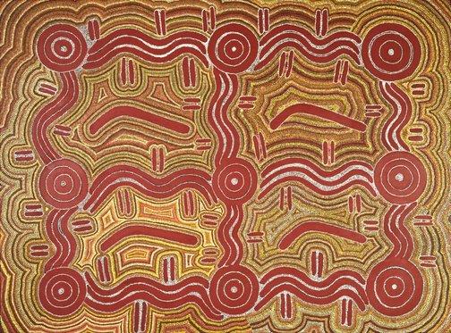 An image of Ngapa Jukurrpa Watikurlangu (Men's Water Dreaming) by Jack Jakamarra Ross, Thomas Jangala Rice, Paddy Japaljarri Stewart, Calvin Junggarayi Martin, Samson Japaltjarri Stewart