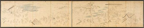 An image of Preparatory sketch for composition for pair of six-panel screens by