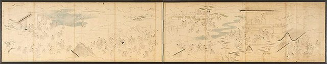 An image of Preparatory sketch for composition for pair of six-panel screens