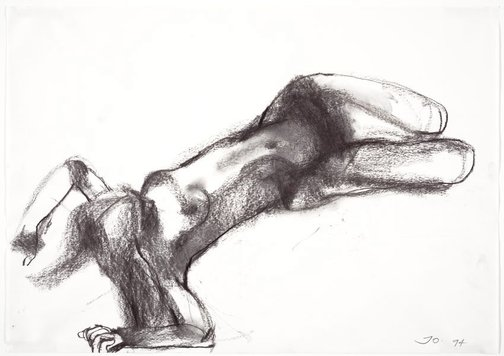 An image of Reclining female nude, hands behind her head by John Olsen