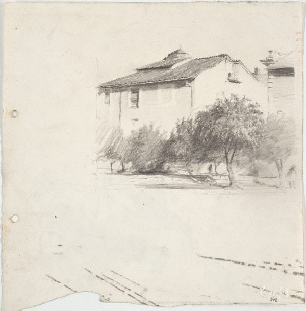 An image of Study for 'House in Campagna'