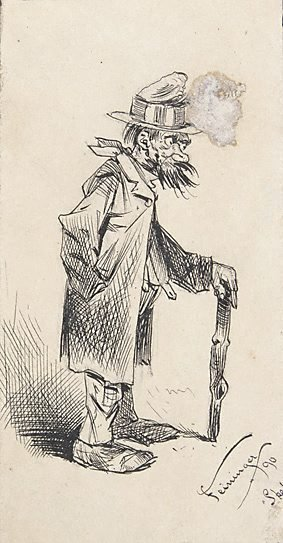 An image of (Tramp standing, leaning on stick)