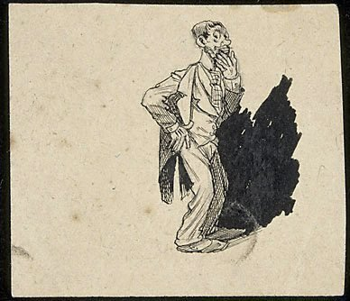 An image of (Standing man stroking his chin)