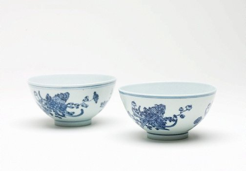 An image of A pair of bowls with floral design by