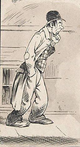 An image of (Morose man walking the pavements)