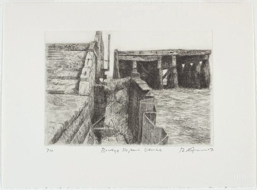 An image of Bridge repair Venice by Rick Amor