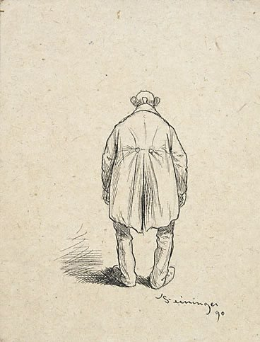 An image of (Bald man in a frock coat; back view)