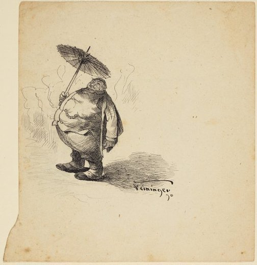 An image of (A fat man with an umbrella) by Lyonel Feininger