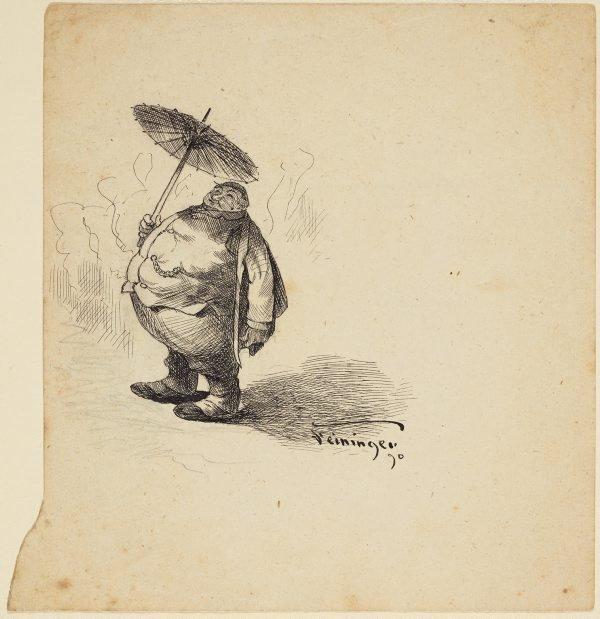 An image of (A fat man with an umbrella)