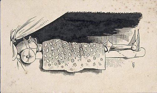 An image of (Knight in armour lying under a blanket) by Lyonel Feininger