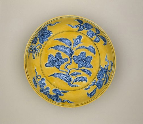 An image of Dish with gardenia spray design by Jingdezhen ware
