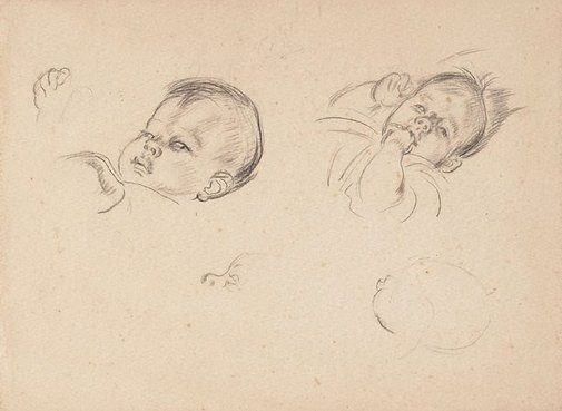 An image of Studies of a baby's head by Thea Proctor