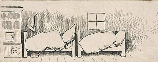 An image of (Two beds, their occupants wrapped in blankets) by Lyonel Feininger
