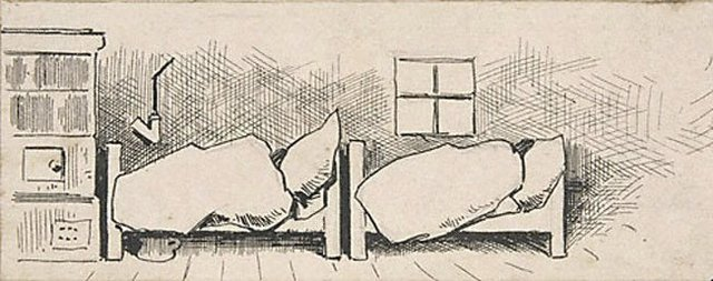 An image of (Two beds, their occupants wrapped in blankets)