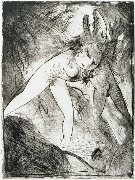 An image of Nude with shark-headed beast by Arthur Boyd