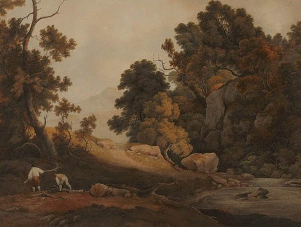 An image of A wooded landscape with sawyers collecting wood