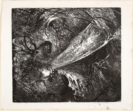 An image of Falling figure with beast's head by Arthur Boyd