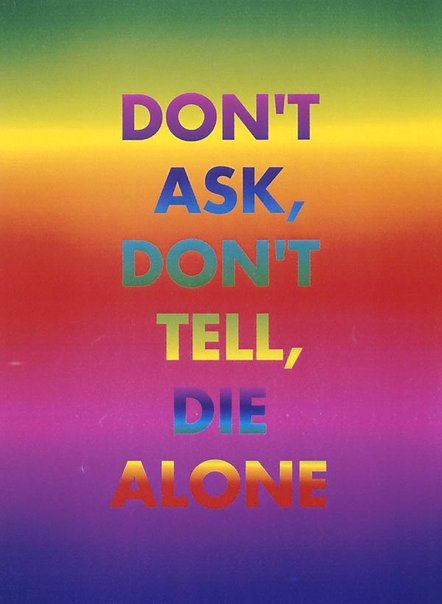 An image of Don't ask, don't tell, die alone by David McDiarmid