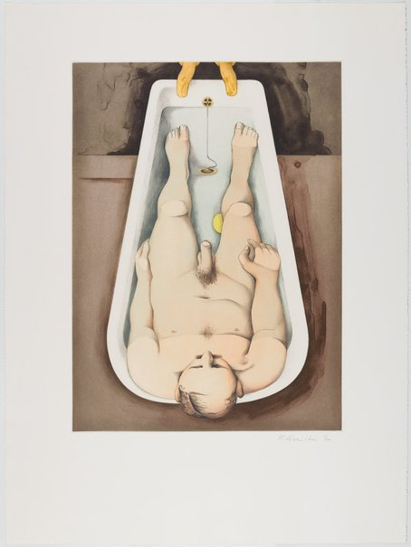 An image of He foresaw his pale body by Richard Hamilton