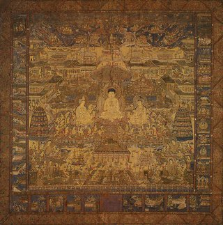 AGNSW collection Pure Land sect Taima mandala (depicting the Western paradise presided over by Amida Buddha) (early 14th century) 369.1991