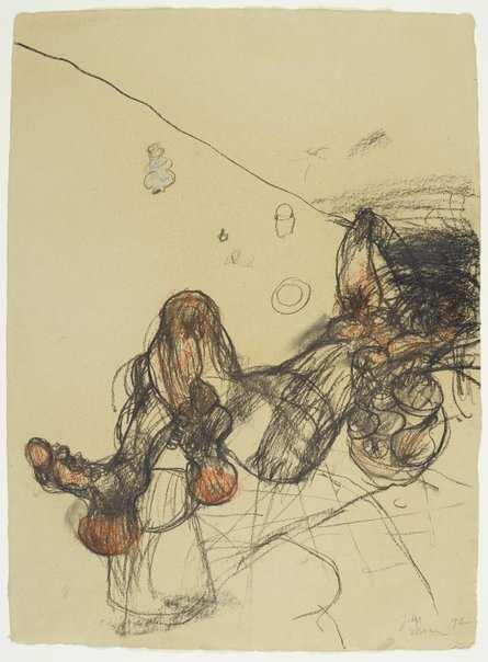 An image of Reclining female nude with bowl of fruit by John Olsen