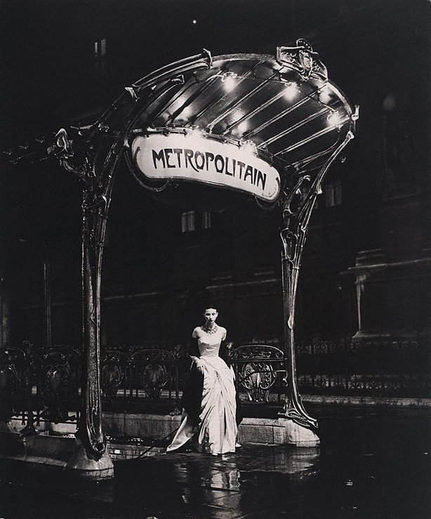 An image of Paris collection (model at Metro entrance wearing Claude Rivière gown)