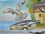 Alternate image of Classical composition with hawk and falcon by Ken Whisson