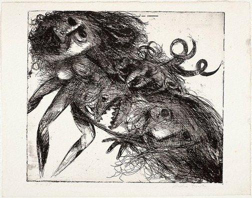 An image of Double figure with shark head and horns by Arthur Boyd