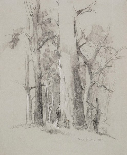 An image of Gum trees, Hahndorf by Nora Heysen