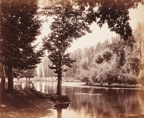 An image of View on the Dhal Canal, Kashmir by Samuel Bourne