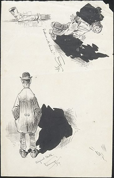"""An image of (Sketchbook leaf-""""declined with thanks!"""" etc) by Lyonel Feininger"""