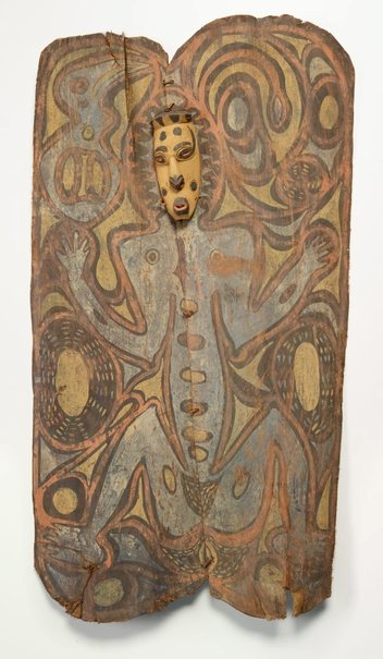 An image of Painting from ceremonial house (spirit figure with wooden mask) by Ap Ma people