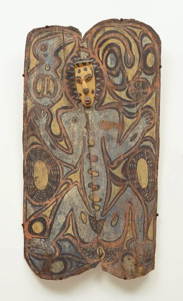 An image of Painting from ceremonial house (spirit figure with wooden mask) by Wiski Busengin Woknot, Ap Ma people