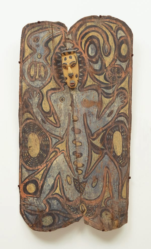 An image of Painting from ceremonial house (spirit figure with wooden mask)