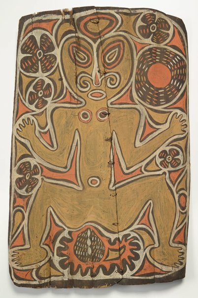 An image of Painting from ceremonial house (spirit figure with waterlillies and sun motif) by Ap Ma people