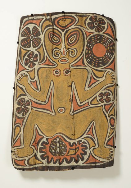 An image of Painting from ceremonial house (spirit figure with waterlillies and sun motif) by Wiski Busengin Woknot, Ap Ma people