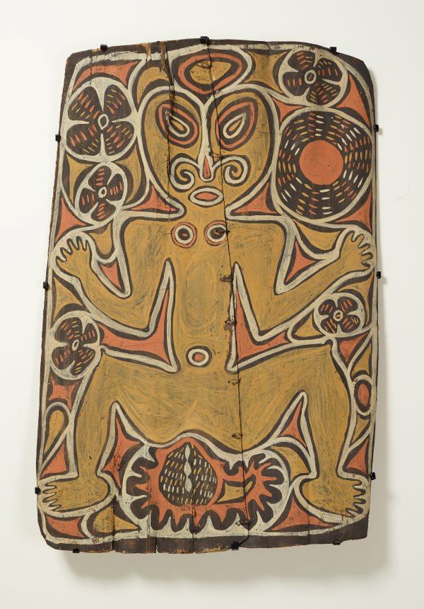An image of Painting from ceremonial house (spirit figure with waterlillies and sun motif)