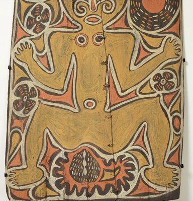Alternate image of Painting from ceremonial house (spirit figure with waterlillies and sun motif) by Wiski Busengin Woknot, Ap Ma people