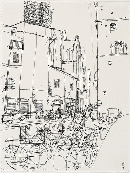 An image of (Italian street scene with bicycles) by Frank Hodgkinson