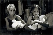 Marina and Zoey with ducks, 1993, printed 1995, Paradise is a Place by Sandy Edwards