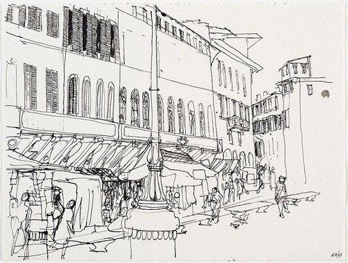 An image of (Italian street scene with market stalls) by Frank Hodgkinson