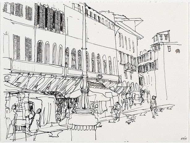 An image of (Italian street scene with market stalls)