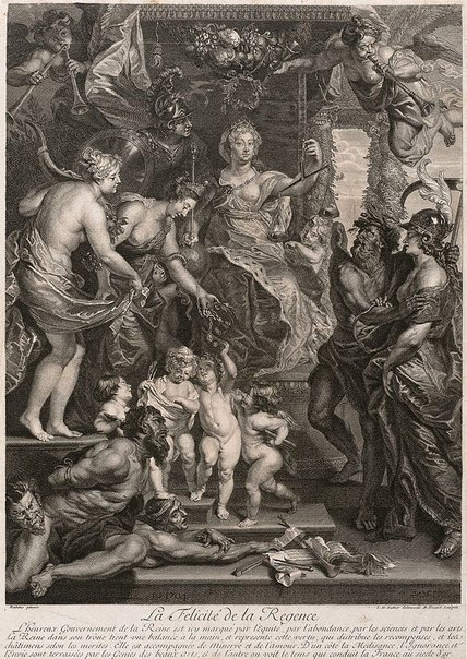 An image of The happiness of the Regency by Bernard Picart, after Sir Peter Paul Rubens