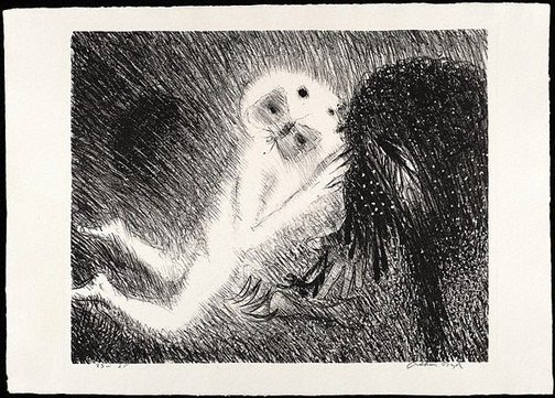 An image of St Francis kissing the wolf of Gubbio by Arthur Boyd